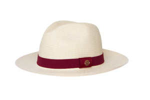 stylish hats for girls, white panama hat with red ribbon