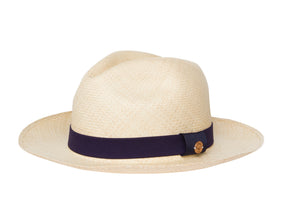 girls white hat, natural hat with navy blue ribbon.