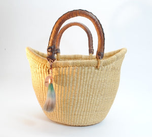 Medium straw basket with leather handles made in ghana fair trade, African basket