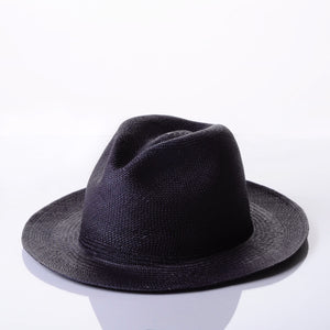 Black Panama hat without a band. Handwover in Ecuador, sustainably made and fair trade