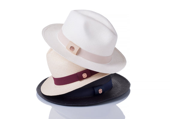 hat bands for panama hat in beige, red, and navy, blue. hat bands for western