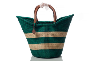large woven storage baskets in green with 3 stripes and with handles