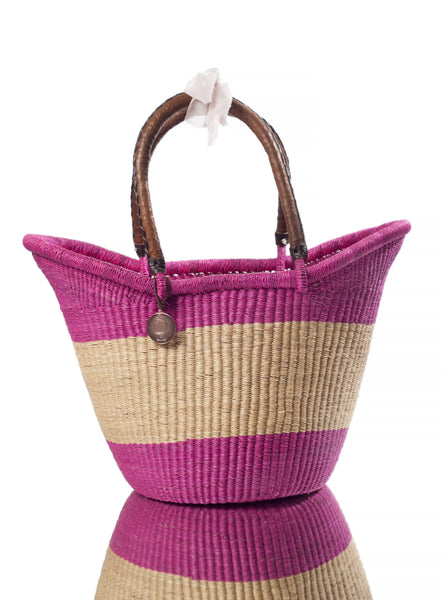 eco-friendly, sustainable, fair trade pink african basket with handles for  storage, picnic, market, pool, beach basket and tote.