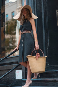 Large Basket, Large Basket with Handles made of leather and big sun hat
