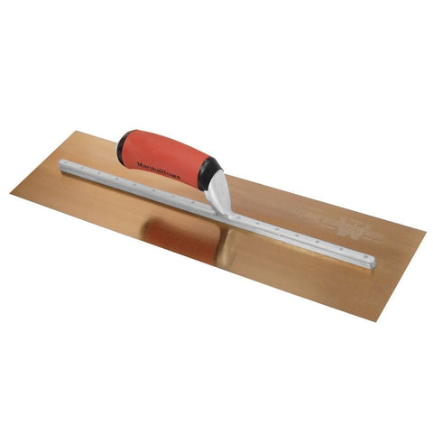 "Marshalltown 18 x 5"" Gold Stainless Steel Finishing Trowel DuraSoft MXS815GD"