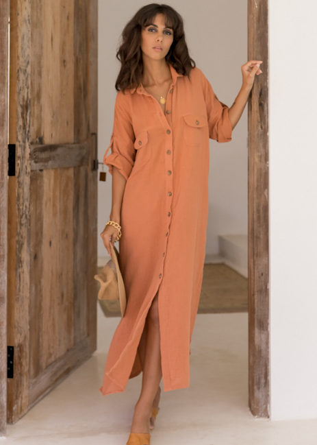 Marlow Shirt Dress - Ochre