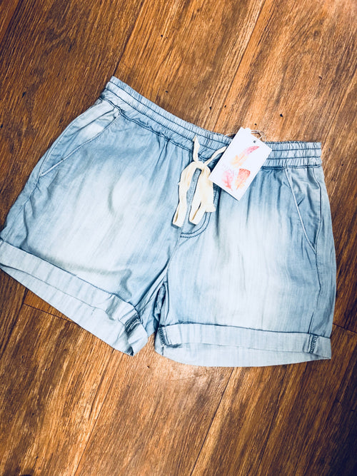 Light Denim Chambray Shorts
