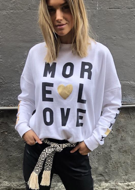 MORE LOVE SCOOP WAFFLE TOP - White - SOLD OUT