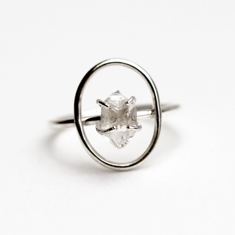 Halo Ring-Herkimer Diamond