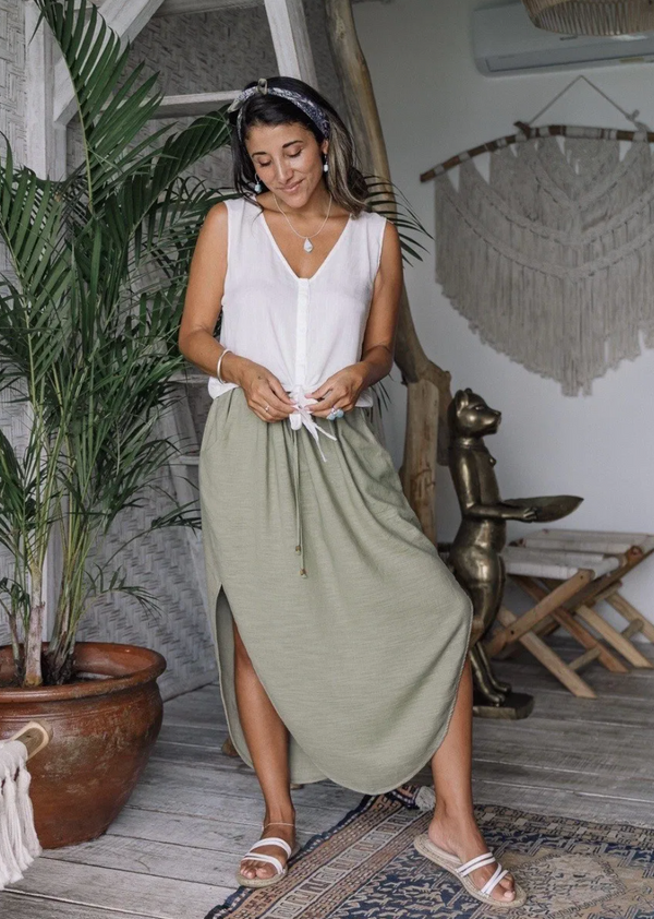 Avalon Linen Skirt - Olive