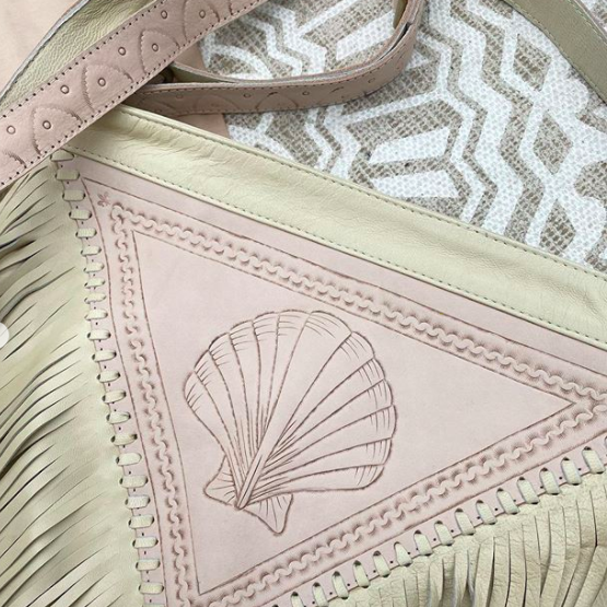 Siren Leather Bag - Cream/Pastel Pink