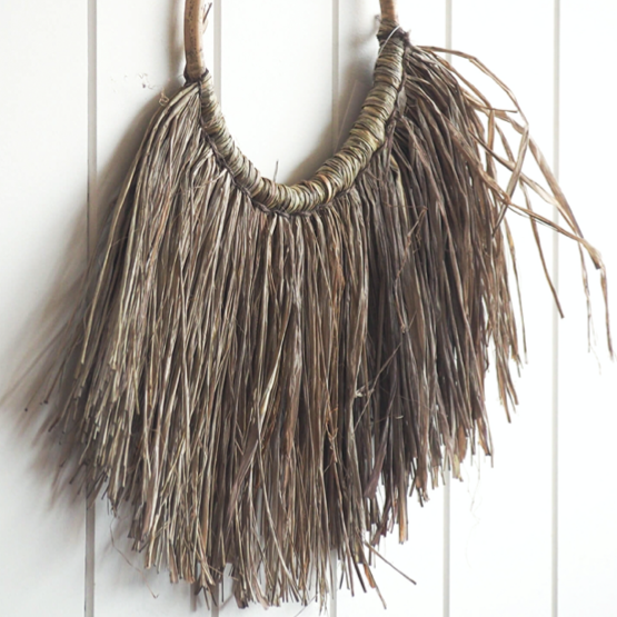 Large Raffia Elm Wall Hanging - Light Taupe