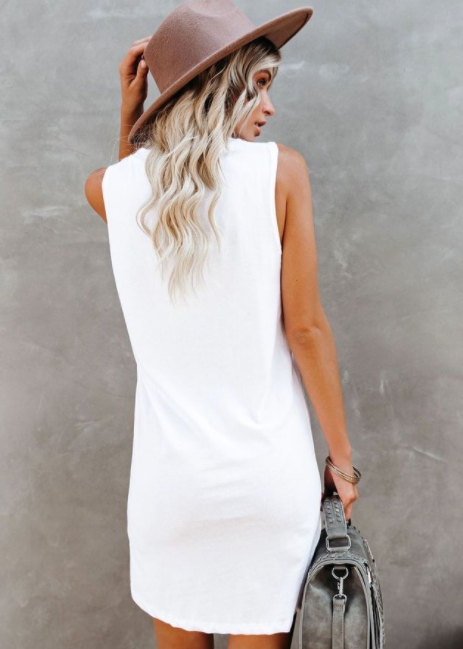 Logan Cotton Tank Dress - White