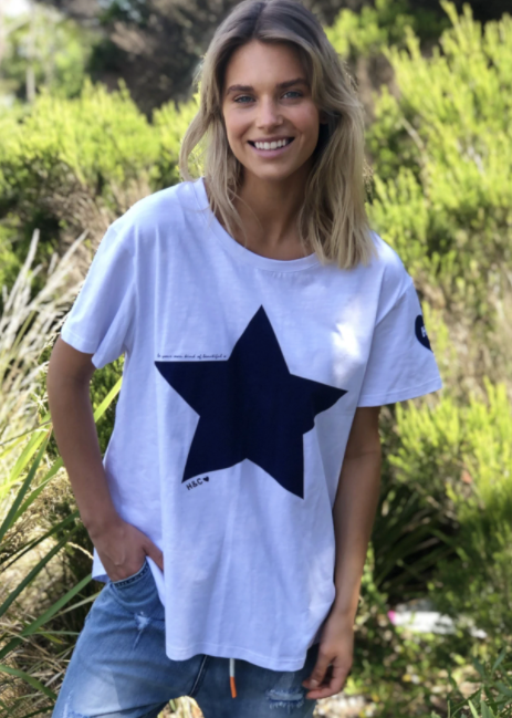 Star Tee - White Tee with Navy