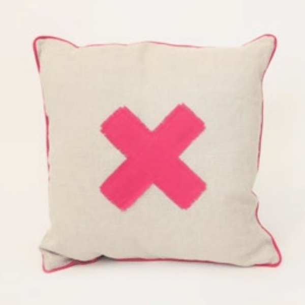 X Marks The Spot Cushion - Hot Pink