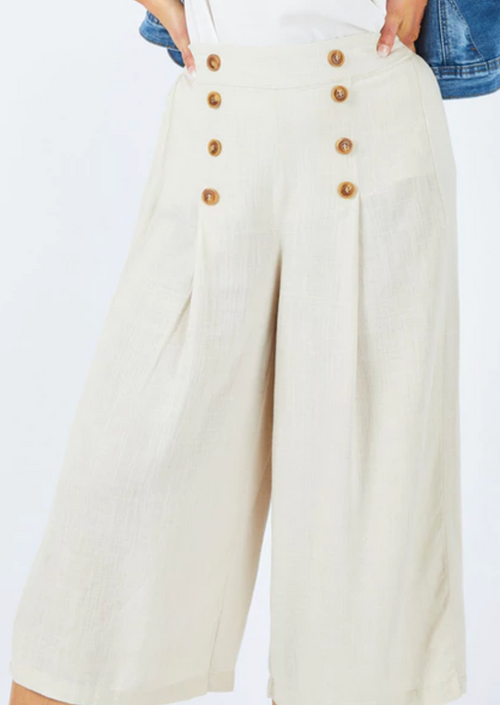 Paradising Buttoned Culottes - Wheat