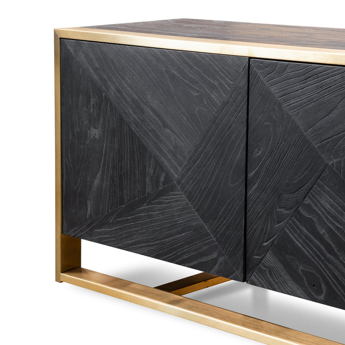 Nicole 2.2m Entertainment TV Unit - Black in Golden Frame