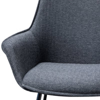 Set of 2 - Nola Fabric Dining Chair - Charcoal Grey
