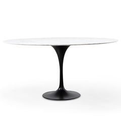 Tulip 1.5m White Marble Round Dining Table - Black Base