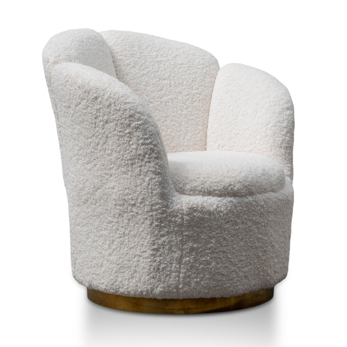 Elmer Lounge Chair - White Synthetic Wool with Brass Gold Base