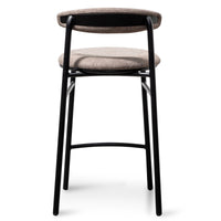 Oneal 65cm Fabric Bar Stool in Caramel Grey - Black Legs
