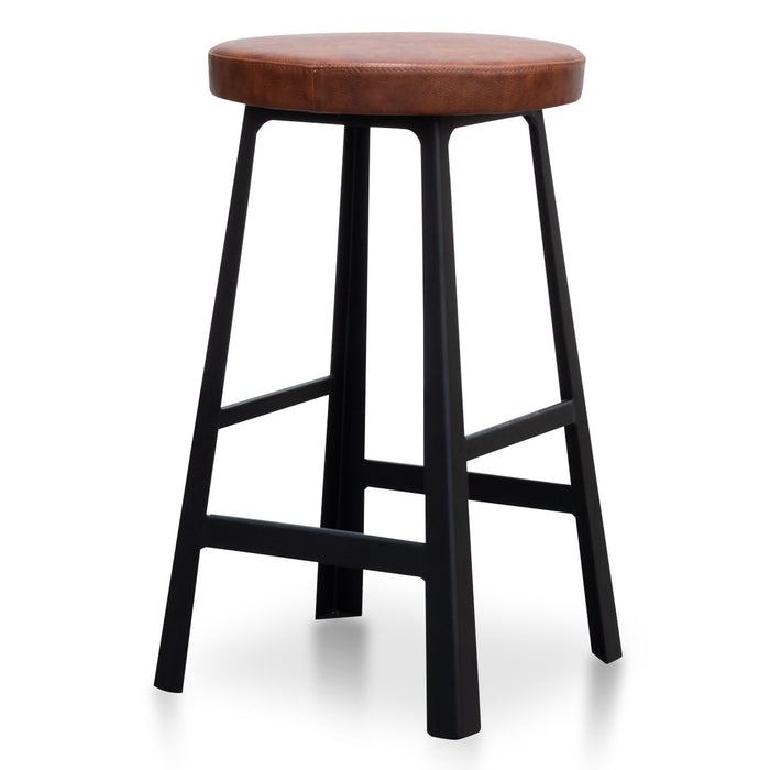 Fina 65cm Bar Stool in Rustic Brown - Black Legs