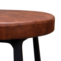 Fina 65cm Wooden Bar Stool in Rustic Brown - Black Legs