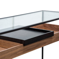 Norman Metal Frame Console - Walnut - Black Tray