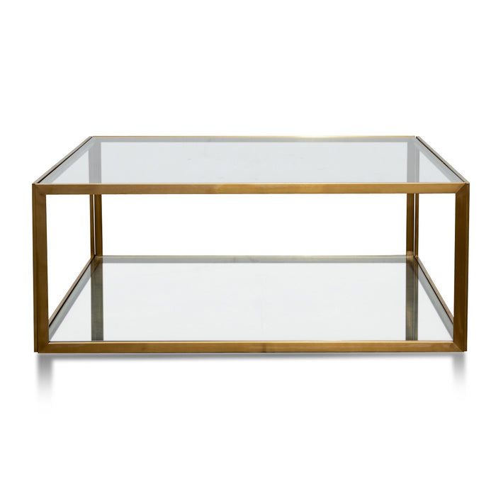Melody 1m Square Glass Coffee Table - Gold Base