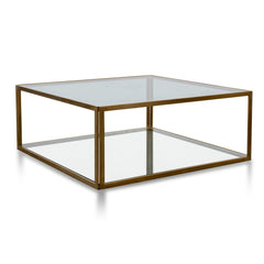 Melody 1m Glass Coffee Table - Gold Base