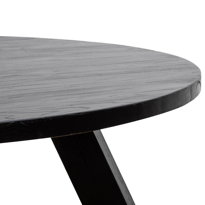 Ethan Wood 1.5m Round Dining Table - Full Black