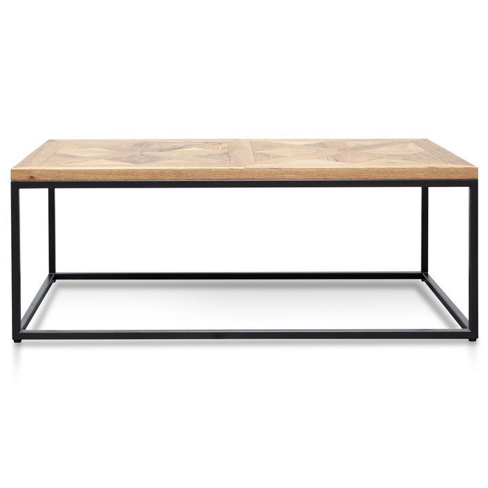 Percy 114cm Coffee Table - European Knotty Oak and Peppercorn