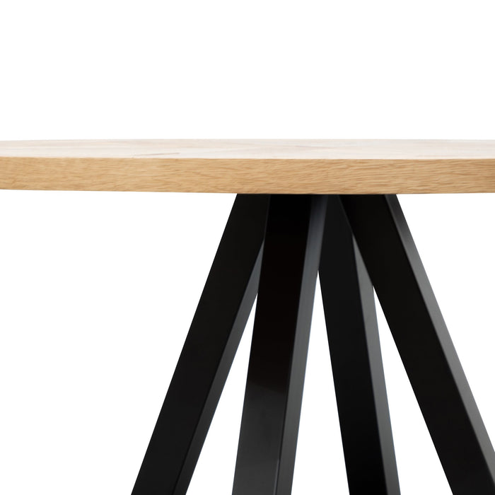 Percy 125cm Round Dining Table - European Knotty Oak and Peppercorn