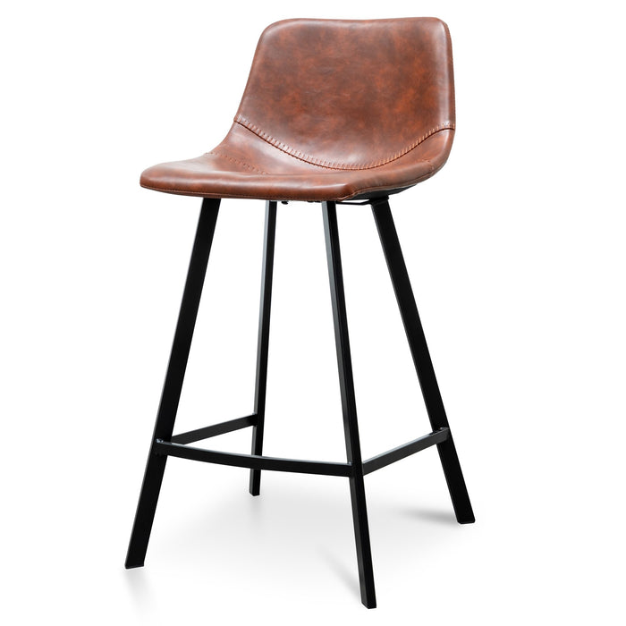 Set Of 2 - Duke 65cm Bar Stool - Cinnamon Brown PU Leather