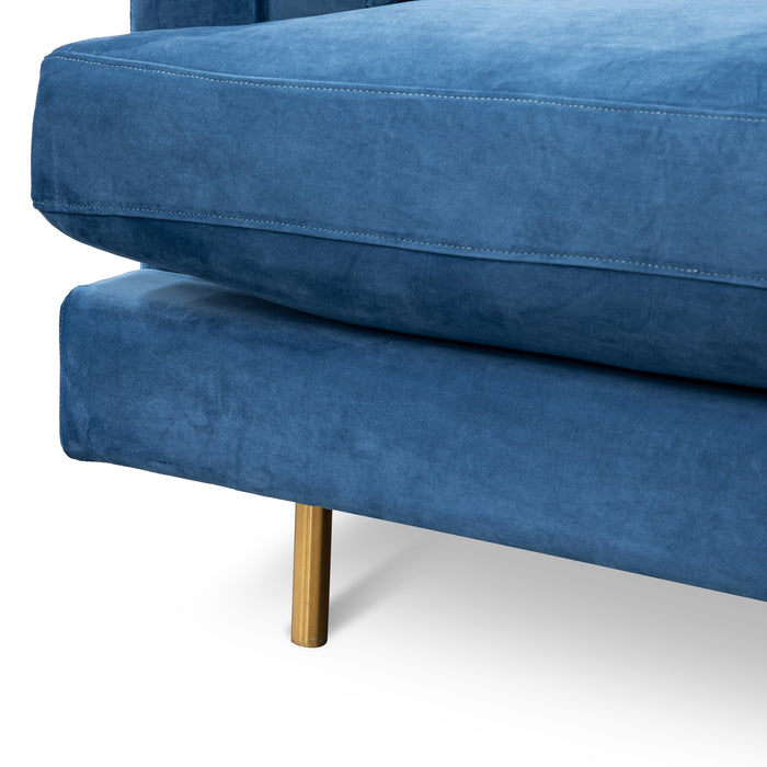 Andre 3 Seater Sofa - Navy Blue with Brushed Gold Legs