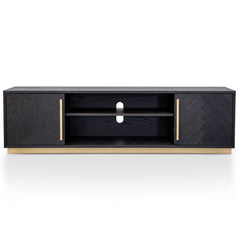 Wilma 1.8m Wooden Entertainment TV Unit - Peppercorn and Brass