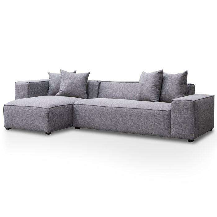 Casey 3 Seater Left Chaise Sofa - Graphite Grey