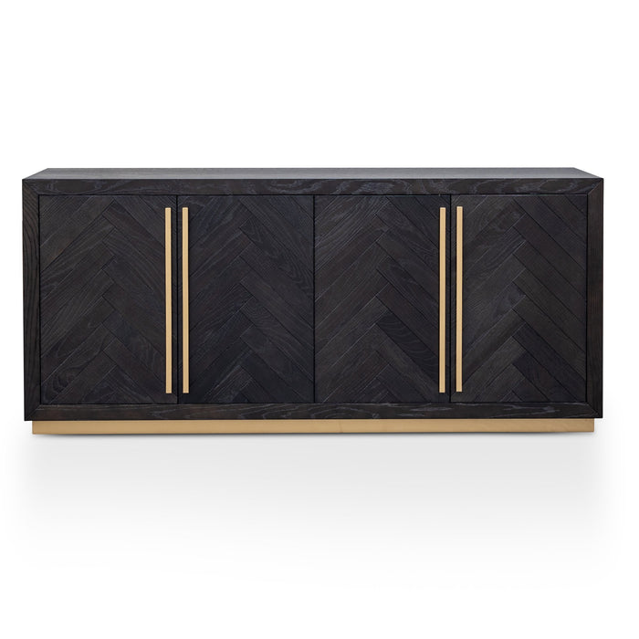 Wilma Wide 180cm Wooden Sideboard - Peppercorn and Brass