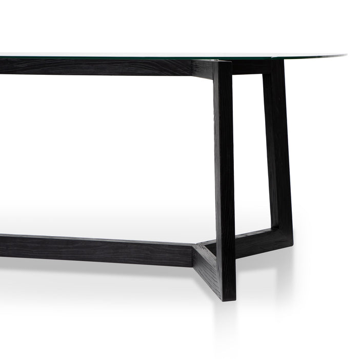 Massey 2.4m Dining Table - Glass Top with Black Base
