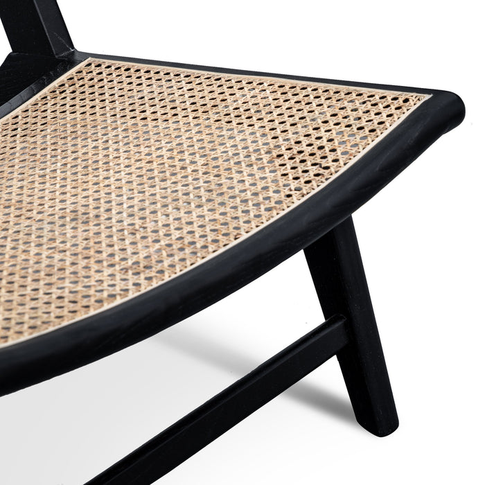 Hazel Lounge Chair - Black Frame with Natural Craft