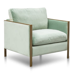 Leona Fabric Arm Chair - Light Green Velvet