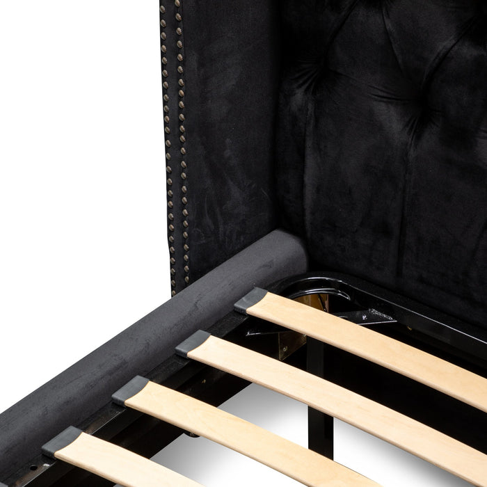 Carolina Queen Sized Bed Frame - Black Velvet BD2774-MI