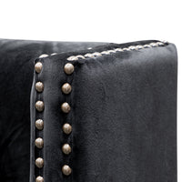 Carolina Queen Bed Frame - Black Velvet