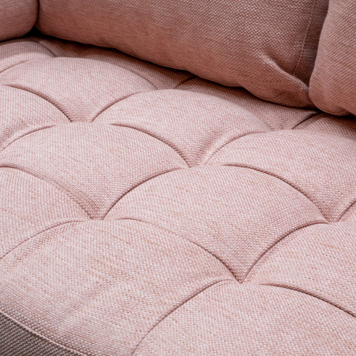 Damon 2 Seater Fabric Sofa - Texture Blush with Black Legs