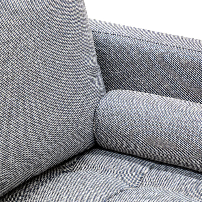 Damon 2 Seater Fabric Sofa - Santorini Blue with Black Legs