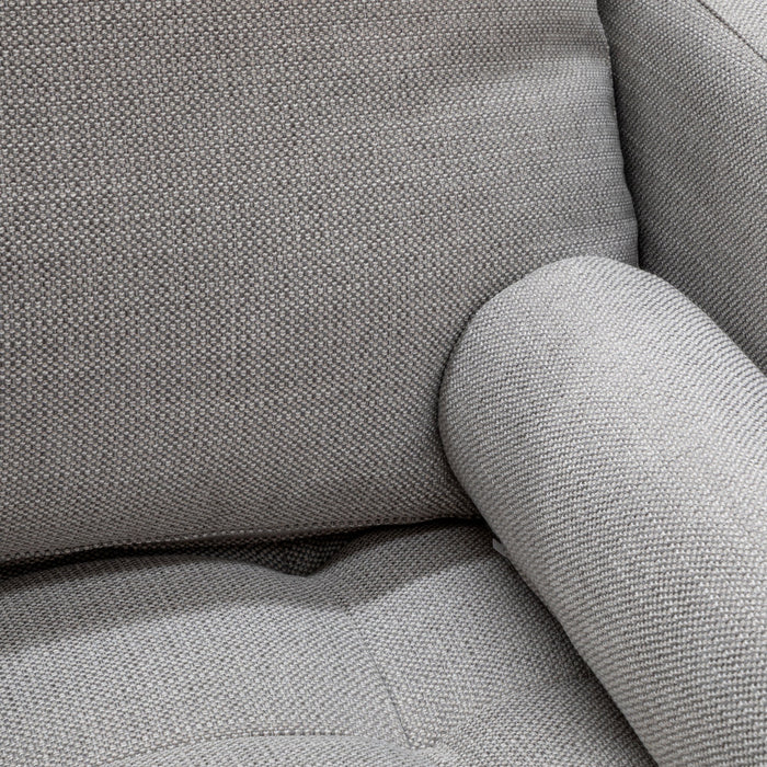 Damon 3 Seater Fabric Sofa - Light Texture Grey with Black Legs