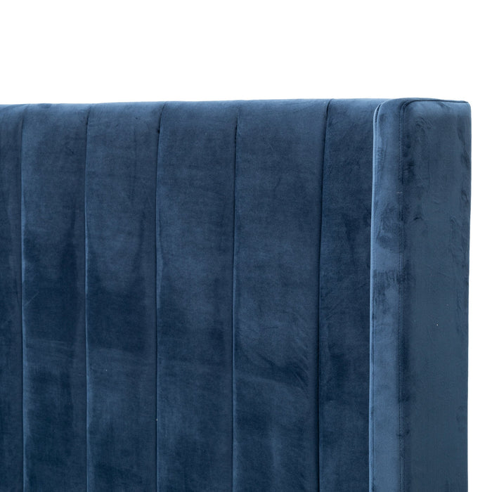Hillsdale King Bed Frame - Navy Velvet