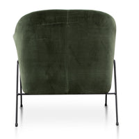 Wiley Dark Green Velvet Armchair - Black Legs