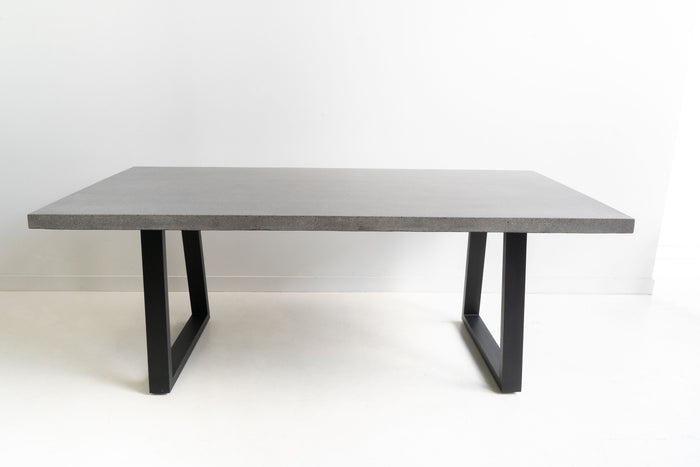 Arlo 1.6m Indoor/Outdoor Natural Dining Table - Black Metal Legs