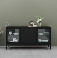 Holmes 160cm Wooden Sideboard Unit - Black with Glass Door and Shelf